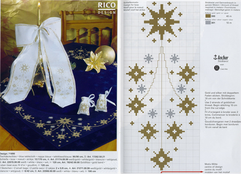 Схемы для вышивки крестом новогодние на скатерти 528